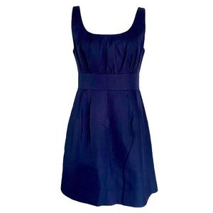 J Crew Navy Blue Empire Waist Pleated Cotton Dress